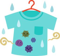 雑菌が繁殖して臭いが付いた洗濯物