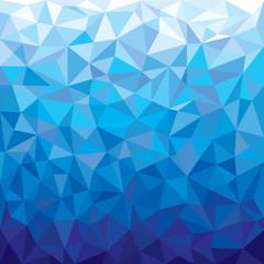 Blue geometrical background. Abstract futuristic triangular pattern. Kaleidoscope wallpaper. Graphic art.