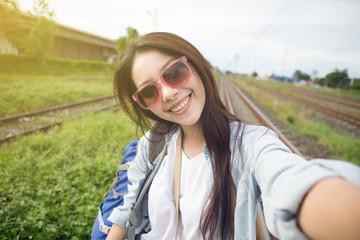 Asia woman self-portrait,travel concept