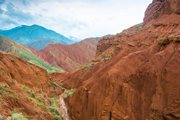 Beautiful mountain landscape in the Aeolian mountains, Kyrgyzsta