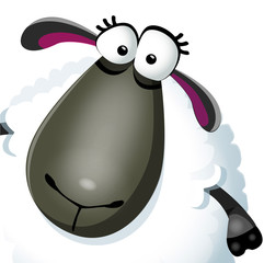 Vector illustration of funny cartoon sheep character on white background. Vector illustration.