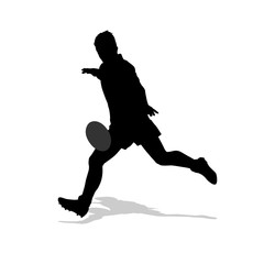 Rugby player kicking ball. Isolated vector silhouette. Team spor