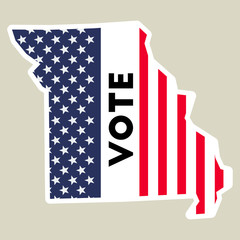 USA presidential election 2016 vote sticker. Missouri state map outline with US flag. Vote sticker vector illustration.