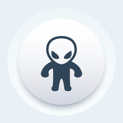 extraterrestrial icon, alien pictogram, vector illustration