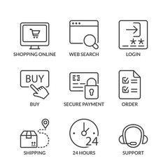 basic shopping online line icons with text