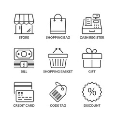 basic store line icons with text