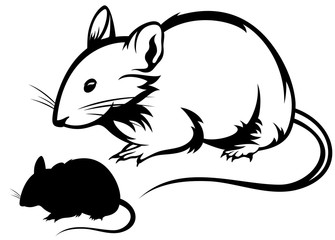 mouse silhouette and black and white outline