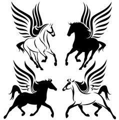 winged horses black and white design set - pegasus vector collection