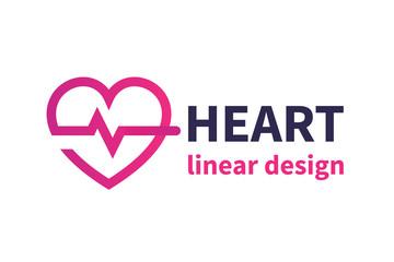 Heart logo design, cardiology, medicine, cardiologist icon, vector illustration