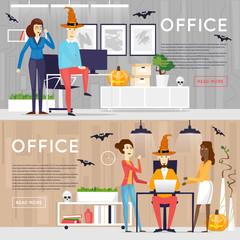 Happy halloween poster, banner, fly-er. Pumpkin. Holiday office. Halloween party. Flat design vector illustration.