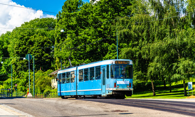 City tram at Slottsparken Station in Oslo