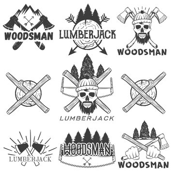 Vector set lumberjack logos, emblems, banners, labels or badges. Monochrome isolated illustration with woodsman, skull, axe, firewood, saw and forest silhouette
