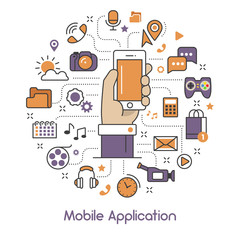 Mobile Application Line Art Thin Vector Icons Set with Smartphone and Mobile Services