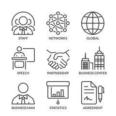 basic business line icons with text