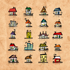 Set of houses on grunge paper, sketch for your design