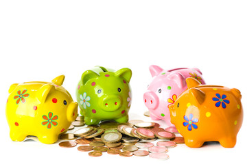 Four pig piggy bank near coins guests, isolated on white backgro