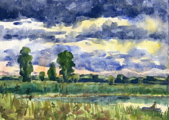 Summer landscape with river and fisherman. Watercolor painting
