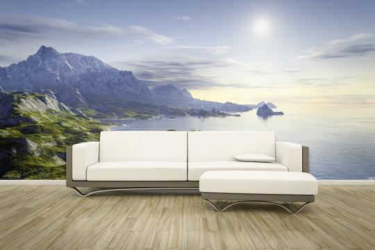 photo wall mural sofa floor landscape
