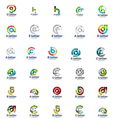 Vector set of abstract letter business logo icons