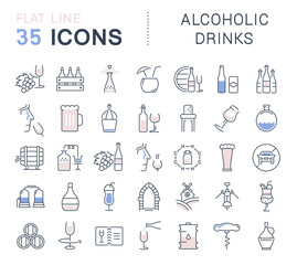 Set Vector Flat Line Icons Alcoholic Drinks