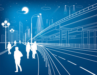 Automotive flyover, architectural and infrastructure illustration, transport overpass, highway, white lines, urban scene, people walking, airplane fly, night city on background, vector design art