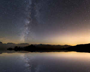 Tranquil landscape with star reflection and milky way