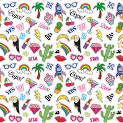 Seamless pattern with Fashion patches. stickers, pins, patches and handwritten notes collection in cartoon 80s-90s comic style. Trend. Vector illustration. Vector clip art.