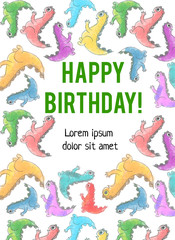 """""""Happy Birthday!"""" sign with bright cute baby dinosaurs"""