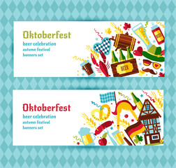 Flat design vector banners set with oktoberfest celebration symb