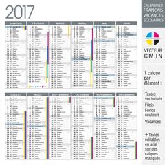 Calendrier français 2017 avec vacances scolaires