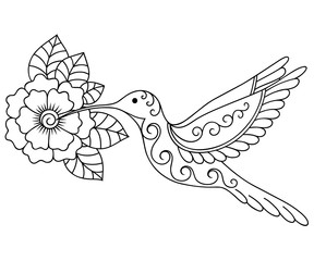 Henna tattoo flower and colibri template. Mehndi style. Set of ornamental patterns in the oriental style.