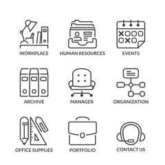 basic office line icons with text