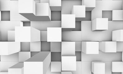 3d illustration. White squares background.