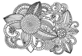 Doodle flowers on a white for coloring book