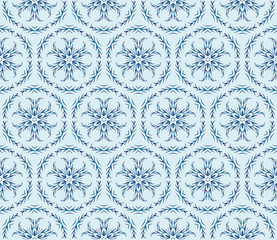 pattern of winter snowflakes. New year series. Blue color. Seamless vector illustration.