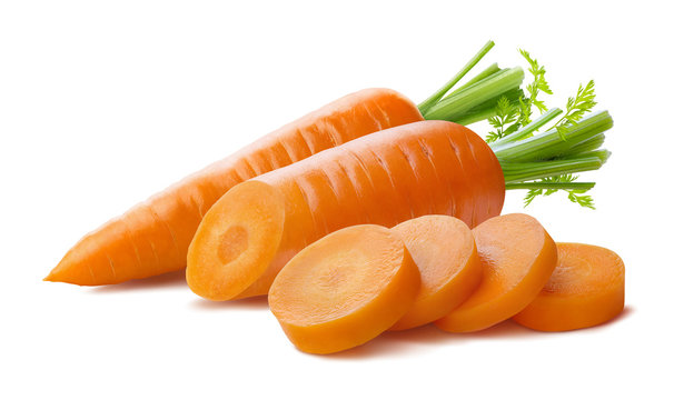 Fresh carrot and cut pieces isolated on white background as package design element