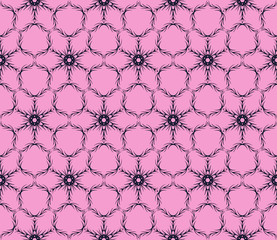Abstract snowflakes. seamless pattern. Vector illustration. Pink, purple color.