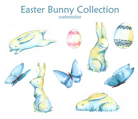 Hand-drawn watercolor collection of Easter cute bunnies, butterflies and colored eggs isolated on the white background. Set of holiday Easter illustrations.