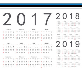 Set of Estonian 2017, 2018, 2019 year vector calendars