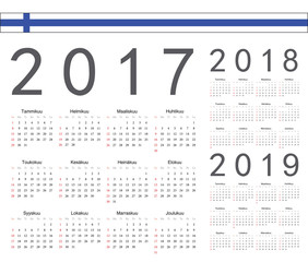 Set of Finnish 2017, 2018, 2019 year vector calendars