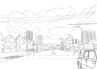 Linear architectural sketch town street