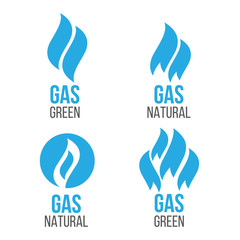 Gas industry logos. Energy green fuel logo
