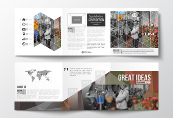 Vector set of tri-fold brochures, square design templates. Polygonal background, blurred image, urban landscape, cityscape, modern triangular texture