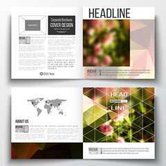 Vector set of square design brochure template. Colorful polygonal floral background, blurred image, pink flowers on green, modern triangular texture