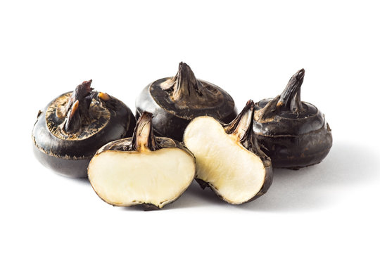 water chestnut on white background (Eleocharisdulcis Trin., Cyperaceae)