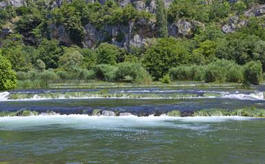 The 'Pearl Necklaces' cascade on the River Krka in Krka National Park, Sibenik-Knin County, Croatia.