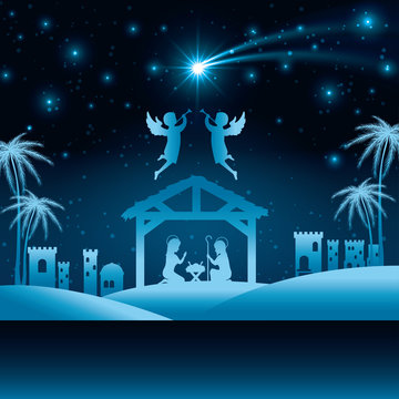 silhouette manger merry christmas isolated design vector illustration eps 10