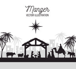 silhouette manger merry christmas isolated design vector illustration eps 10