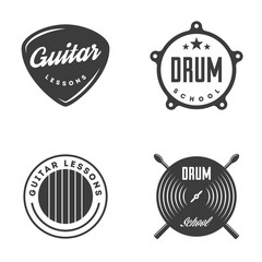 Drum and Guitar school isolated labels, badges.