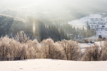 Winter mountain hill in sunlight with snow gallo, rural landscape